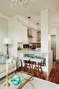 condo living, design by sarah richardson - This is Glamorous Small Condo Living, Condo Living Room, Living Room Decor, Stove, Layout, Bar, Breakfast, Table, Kitchen Design