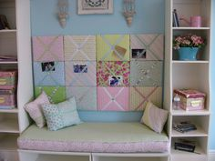 Inspiration for children's rooms - Can be great idea using Ikea shelves & toy boxes turned on their sides with bench pad on top. Blue Rooms, Blue Bedroom, Girls Bedroom, Bedroom Ideas, Decor Room, Wall Decor, Wall Art, Master Room, Woman Bedroom