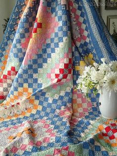 """Beautiful Blue! VINTAGE 30s One Patch Postage Stamp QUILT 77"""" x 70"""""""