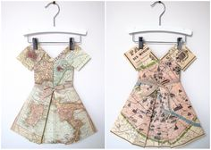 Paper Dresses Made From Vintage Maps Are Memorable Modern Decor . Vintage Maps, Vintage Green, Skirt Tutorial, Dress Making, Modern Decor, Wrap Dress, How To Memorize Things, Summer Dresses, Paper Dresses
