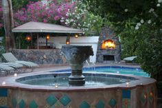 Enjoy the sounds from the Moroccan style fountain.