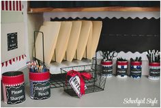 Create an organization station in your classroom! County Fair Classroom decorating theme  by Schoolgirl Style Americana, red, white, blue, chalkboard decor www.schoolgirlstyle.com