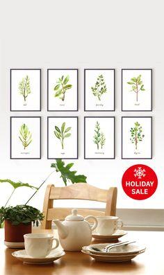 Watercolor Herb art Set of 8 - 5x7 Kitchen art - Apartment decor - Wall hanging - Green artwork