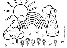 Nature coloring page for kids with rainbow, printable free