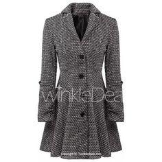 Stylish Lapel Neck Long Sleeve Single-Breasted Checked Slimming Women's Coat