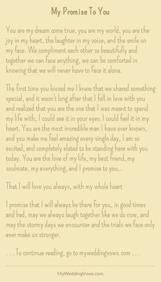 Wedding quotes and sayings vows i promise 51 Ideas Soulmate Love Quotes, Cute Love Quotes, Romantic Love Quotes, Love Poems, Love Quotes For Him, Wedding Vows To Husband, Wedding Vows That Make You Cry, Cute Wedding Ideas, Trendy Wedding