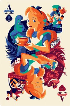 2017 Disney MONDO - Tom Whalen - Alice in Wonderland - Variant ed of 250 Walt Disney, Disney Pixar, Disney E Dreamworks, Disney Love, Disney Magic, Disney Characters, Alice Disney, Expo Disney, Disney Art Style