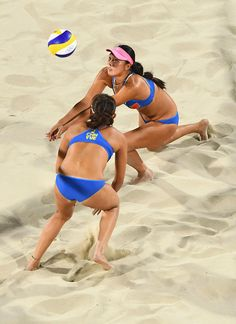 #RIO2016 Best of Day 1 - Fan Wang of China and Yuan Yue of China in action during the Women's Beach Volleyball preliminary round Pool C match against Isabelle Forrer and...