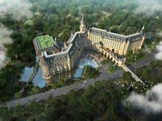 Hello Kitty Castle Hotel -  Anji County, China. Inspired by Canadian railroad lodges and Bavarian walled cities.