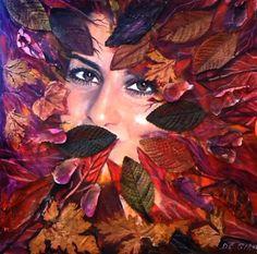 Dea  Autunno anna  la  mia  dolce  amica olio  su  tela 30x30