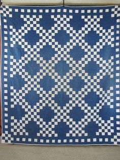 Vintage Antique Handmade Quilt Double Irish Chain 1930's Blue White Quilt | eBay
