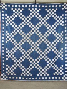 Vintage Antique Handmade Quilt Double Irish Chain 1930's Blue White Quilt   eBay