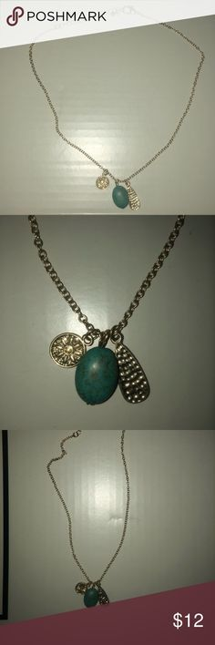 Gold necklace with charms and blue stone Great condition! Jewelry Necklaces