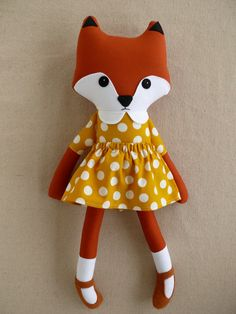 Fabric+Doll+Rag+Doll+Red+Fox+in+Yellow+Polka+Dotted+by+rovingovine,+$37.00