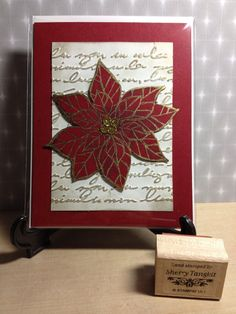 Stampin Up Joyful Christmas and Pretty Print embossing folder highlighted with gold.