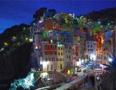 Italy. At night Riomaggiore.