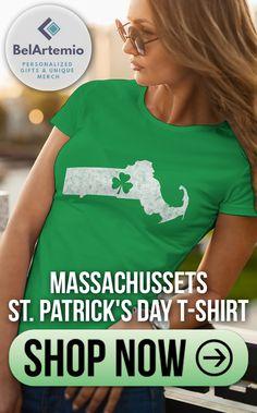 ca055c7e Massachussets state Irish shamrock shirt - Boston shamrock shirt - St  Patricks day shirts - Irish American - Saint Patrick's day gift