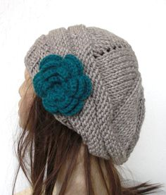 Hand Knit Hat  chunky knit  beret in linen  with teal   by Ebruk, $30.00