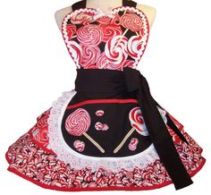 Retro Apron Peppermint Lollipops Red and Black Apron by WellLaDiDa, $55.00
