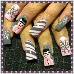 Pink winter wonderland nails