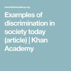 discrimination in society today
