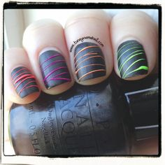 I am guest posting over at @PiggieLuv Nail blog Nail blog  today! These are the Neon Sugar Spun Nails I re-created.