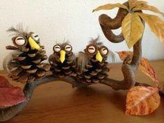 Mochos feitos a partir de pinhas