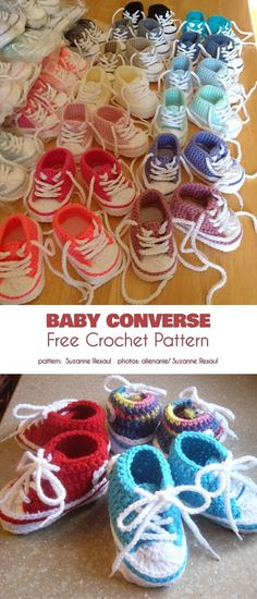 Converse Baby Booties Free Crochet Patterns - Baby Converse Booties Free Crochet Pattern and Tutorial Converse En Crochet, Crochet Baby Shoes, Crochet Baby Clothes, Crochet Slippers, Baby Slippers, Crocheted Baby Booties, Crochet Baby Stuff, Crochet For Baby, Kids Crochet