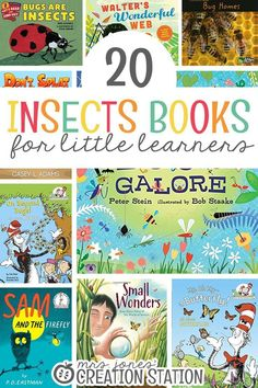 Spring is here, and that means the insects are too. What better way to learn about all the little bugs around us than with some insect books! Here are 20 Insect Books for Little Learners that can help you with an insect or bug unit. Preschool Books, Learning Activities, Homeschooling Resources, Reading Resources, Preschool Ideas, Learning Websites, Homeschool Curriculum, Educational Activities, Toddler Preschool
