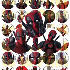 35 Deadpool Comics Digital Party Stickers Circles size 1'' and 1.5'' sheet A4 (8.5''x11'') Bottle Cap images Cupcake Toppers by LaLaPrint on Etsy