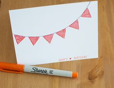 Crosshatch birthday card - simple but effective