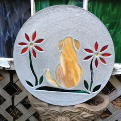 """Light Brown Blond Dog with Red Flowers Stepping Stone BIG 18"""" Concrete Stained Glass Mosaic Yard Art Garden Path Pet Memorial Patio Pool by SteppingStoneYardArt on Etsy"""