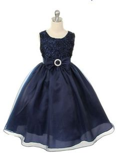 sz 4 Brand New Navy Blue Flower Girl Dress / Kids Party Dress. $42.99, via Etsy.
