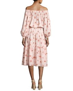 Alexis Tilia Floral-Print Off-the-Shoulder Midi Dress, Pink Pink Midi Dress, Midi Skirt, Clothes For Sale, Clothes For Women, Looks Chic, Skirt Fashion, Neiman Marcus, Off The Shoulder, Floral Prints