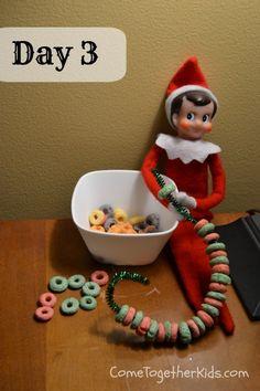 Elf on the Shelf Ideas - Fruit Loop Ornaments