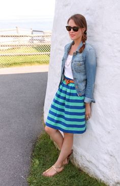 Casual sightseeing outfit. Wearing: Mossimo t-shirt, Tinseltown Denim Couture jacket, Vintage skirt, Target belt, Dolce Vita sandals, Vintage necklace, gifted Ray Ban sunnies. Striped skirt #dress #skirt
