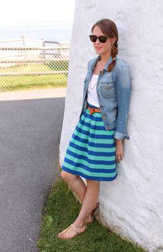 t-shirt, denim jacket, belted A-line skirt, sandals (weekend/sight-seeing)