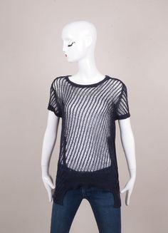 Navy Blue Loose Open Knit Short Sleeve Cotton Sweater