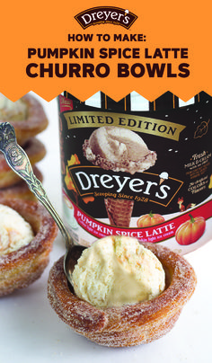 With fall in full swing, you're always looking for fun activities and delicious recipes to try out with your kids. Thanks to this guide for How To Make Churro Ice Cream Bowls—it makes it easy to find both! Grab cinnamon, sugar, Dreyer's Slow Churned Pumpkin Spice Latte light ice cream, and more to whip up this fun creative dessert for a memorable after-dinner treat your family is sure to love.
