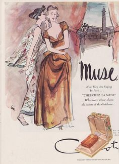 Vintage Mid Century Perfume Ad Muse by Coty 1947 by Artist ERIC