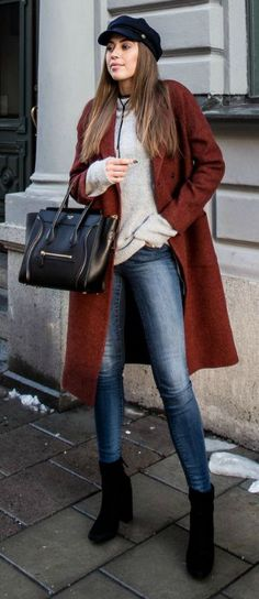 Kenza Zouiten + choker + simplistic fall style + burgundy overcoat + knitted sweater + denim jeans + choker + cool street style.   Outfit: Nelly.... | Style Inspiration