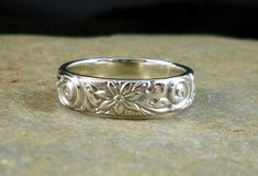 955091d567c7 Artisan Sterling Silver Embossed Ring by Belldesigns on Etsy