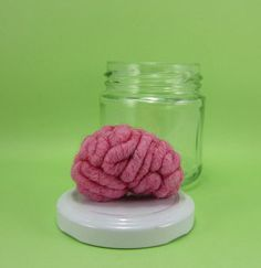 Get some scientific style with this hand-felted braaaaain in a jar by YourOrganGrinder (safe to use for experiments too!....IT'S ALIVE!!!)