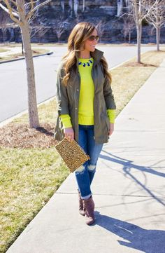 Yellow Sweater   Distressed Jeans