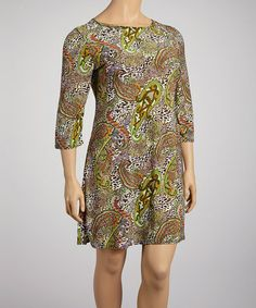 Take a look at this Green & Orange Animal Paisley Shift Dress - Plus by White Mark on #zulily today!