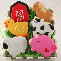 Farm Animal Cookies, Cow, Pig, Sheep, Duck, Horse, Barn - 24 Decorated Sugar Cookie Favors by Truly Scrumptious Cookies ||| Catch My Party