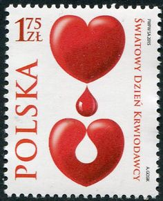 Francobolli - Donazione e trasfusione di sangue - Blood donation and transfusion Polonia 2015
