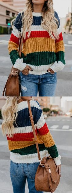 Shop for Polychrome Stripe Long Sleeve Women Knit Sweater Online at $27.99 and discover more Cheap and Fine Sweaters & Cardigans at mynystyle.com