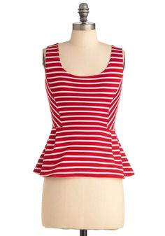 $33 Monday Fun Day Top - Mid-length, Red, White, Stripes, Casual, Vintage Inspired, Sleeveless, 60s, Pleats, Nautical