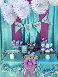 Frozen Movie Night Party Ideas | Photo 2 of 12 | Catch My Party  Purple and blue colors